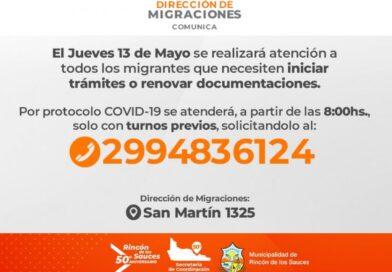El jueves la Delegación de Migraciones vuelve a Rincón